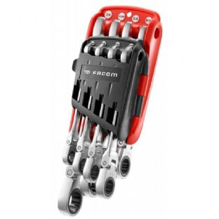 Facom 467F.JPU8 Inch Hinged Ratchet Combination Wrench Set In Sleeve